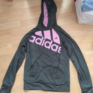 Gray and Pink Adidas hoodie